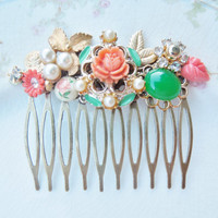 Vintage Collage Hair Comb - Coral and Jade Green - Vintage Assemblage, Upcycled, Repurposed Jewlery, OOAK Bridal Shabby Chic