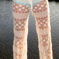 boho gypsy festival dance beach 70's crochet lace horizontal pattern ivory pants w drawstring