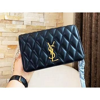 YSL fashionable color single shoulder bag with zigzag line hot selling casual lady shopping bag Black