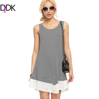 DIDK Woman Summer Dresses 2016 New Ladies Short Dress Black Striped Round Neck Sleeveless Ruffle Shift Loose Dress