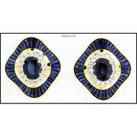 Diamond Jewelry Blue Sapphire Earrings 18K Yellow Gold [E0042]