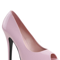 Baby Pink Peep Toe Pump Heels Patent Faux Leather