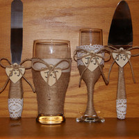 Rustic Wedding Champagne Flute and Beer Glass with Cake Serving Set / Country Wedding Toasting Glasses / Rustic Wedding Table Cake Cutting