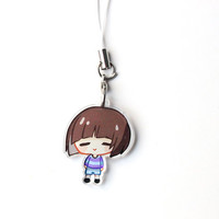 """Undertale Frisk 1"""" Mini Acrylic Charm with Phone Strap (Double Sided Front & Back)"""
