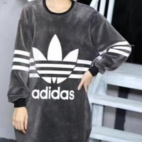 Adidas The winter with thickened long paragraph sweater cashmere dress warm dress