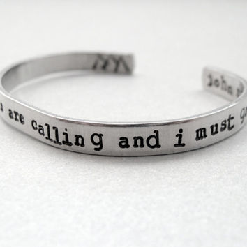 John Muir Bracelet - The Mountains are Calling- 2-Sided Hand Stamped Aluminum Cuff - customizable