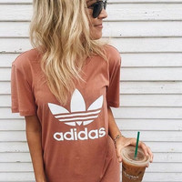 adidas Originals Orange Trefoil Boyfriend T-Shirt - (8 color)