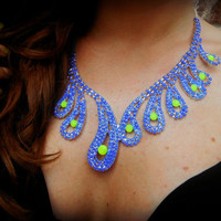 Neon Hand Painted Rhinestone Necklace in Blue and Yellow Swirl