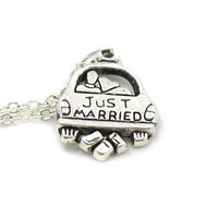 Just Married, Bride Necklace, Bride Charm Jewelry, Wedding Necklace, Just Married Jewelry, Bridal Party Gift, Jewelry Gift, Gift Under 10