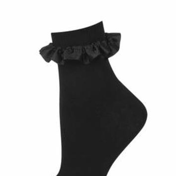 Black Ribbon Trim Socks - Black