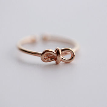 925 sterling silver rose gold bowknot opening ring ,simple sterling silver ring, A delicate gift
