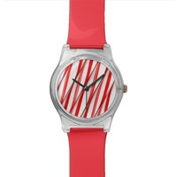 Funky Chrstmas Candy Canes Wristwatch