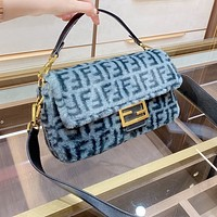 Fendi new products plush letters ladies clamshell baguette handbag shoulder messenger bag