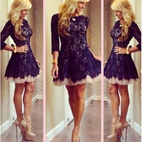 Don's Bridal Good Quality Lace Homecoming Sexy O Neck Three Quarter Sleeve Short Party Graduation Dresses 2016