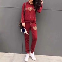ONETOW Kenzo' Women Casual Fashion Embroidery Tiger Head Letter Long Sleeve Hooded Sweater Trousers Set Two-Piece Sportswear