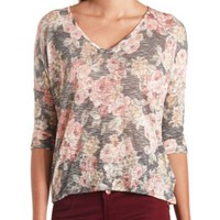 Sheer Floral Print Dolman Top by Charlotte Russe - Black Combo