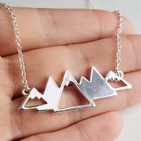 Silver Mountain Range Necklace for Outdoor Lovers, Skiers and Hikers (Style 3)