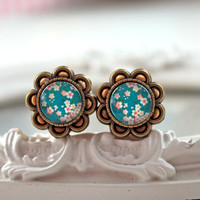 "Pretty cabochon plugs gauges  16mm 5/8""   colorful flowers pink teal sakura"