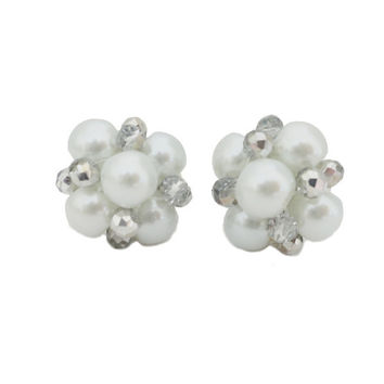 Pearl Cluster Earrings Bridal, Wedding Earrings Studs Handmade