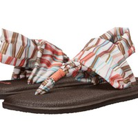 Sanuk Yoga Sling 2 Prints Ivory and Spiced Coral Mod Geo Sandals