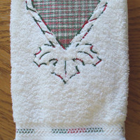 Christmas White Bath Hand Towel with embroidered candy cane heart with holly at the bottom using varigated red, white, and green thread