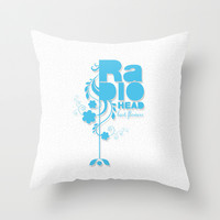 "Radiohead ""Last flowers"" Song / Blue version Throw Pillow by LilaVert"