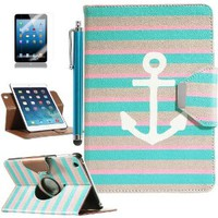 ULAK 360 Degree Rotating Synthetic Leather Case Cover for Apple iPad Mini 1/2/3 with Auto Sleep/Wake Function (Stay II)