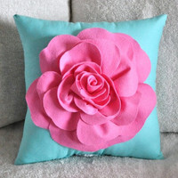 Pink Rose on Bright Aqua Pillow by bedbuggs on Etsy