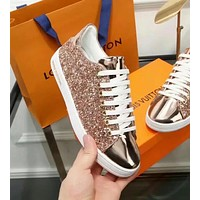 LV Louis Vuitton autumn and winter new wild sequins metal leather women's comfortable casual shoes Gold