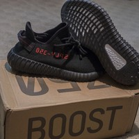 AUTHENTIC YEEZY BOOST 350 v2 BLACK RED BRED SIZE 9 1/2