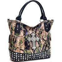 Camo Handbag With Rhinestone Cross Pyramid Studded Tote - CRL662