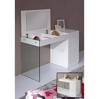 """Full Length Mirror - 27"""" White Glass Floating Vanity with a Mirror"""