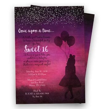 Once Upon A Time Invitation - Sweet 16 Invitation - Purple Pink - Silhouette Balloon - Princess Sweet 16 Birthday Invite - Silver Glitter