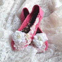 Romantic pink shoes, Shabby country chic embellished shoes, Fall crochet rose shoes, Slip on shoes for her, Blinged out, True rebel clothing