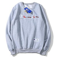 Champion 2018 new rainbow color embroidery letter logo round neck pullover sweater grey