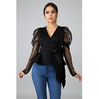 Helena Black Sheer Sleeve Peplum Top