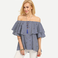 Striped Ruffle Off The Shoulder Multicolor Blouse