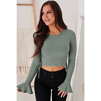 Greet The Day Bell Sleeve Knit Top (Dark Sage)