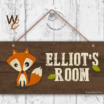 """Fox Sign, Woodland Personalized Sign,Kid's Name, Kids Door Sign, Baby Nursery Wall Decor, Weatherproof, 5"""" x 10"""" Sign, Made To Order"""