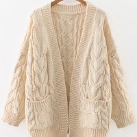 Beige Cable Knit Front Pocket Cardigan