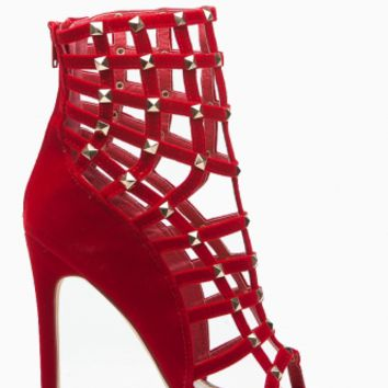 Red Faux Suede Cage Studded Single Sole Heels @ Cicihot Heel Shoes online store sales:Stiletto Heel Shoes,High Heel Pumps,Womens High Heel Shoes,Prom Shoes,Summer Shoes,Spring Shoes,Spool Heel,Womens Dress Shoes