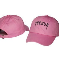 Kanye West Yeezus Mens Womens Pink Strapback Hat Cap Baseball Cap Embroidery Fitted Trucker Sun Hat