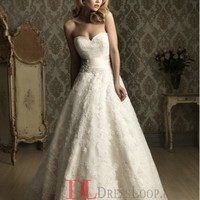 Lace Sweetheart Ball Gown Sleeveless Wedding Dress with Chapel Train AB8850