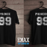 Princess Shirt and  Prince Couple Tshirts, Matching Couples Tees 100% Cotton Unisex T-shirts