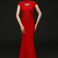Stretch Chinese Wedding Column Qipao Gown