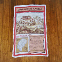 "Vintage 1970s ""Edinburgh Castle"" Scotland Tea Towel / Pure Linen Tea Towel / Historical Kings Residence / Souvenir Tea Towel"