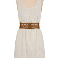 Scoop neck lace dress with embroidered belt