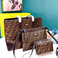 Free shipping-Fendi new women's shopping bag cosmetic bag three-piece