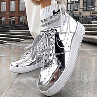 NIKE Air Force 1 Low Metal Color Stylish Women Men Sport Running Shoes Sneakers Silvery
