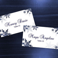 DIY Printable Wedding Place Card Template | Editable MS Word file | 3.5 x 2 | Instant Download | Winter Royal Navy Blue Bubble Snowflakes